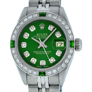Rolex Ladies Datejust Green Diamond Watch
